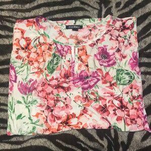 Women's Roz & Ali Floral Flutter Sleeve Top (3X)